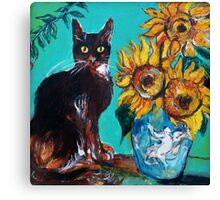 SUNFLOWERS WITH BLACK CAT IN BLUE TURQUOISE  Canvas Print