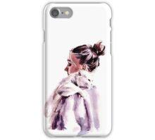 sweet white cat hugs iPhone Case/Skin