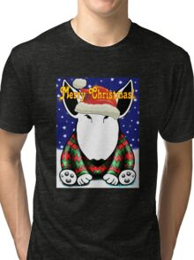 English Bull Terrier Christmas Card Tri-blend T-Shirt