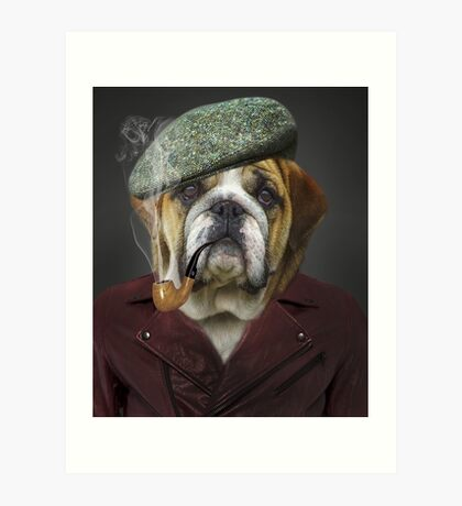 Senior Pug Smoking Pipe Funny Portrait  Art Print