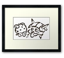 Tribal poro and #090 water Framed Print