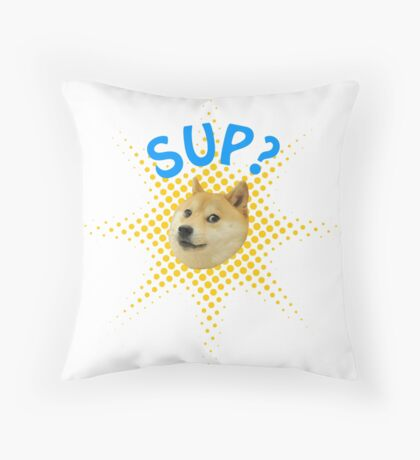 Doge popping out! Sup? Throw Pillow