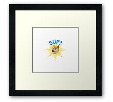 Doge popping out! Sup? Framed Print