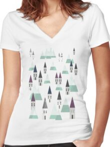 VILLAGE ON WINTER Women's Fitted V-Neck T-Shirt
