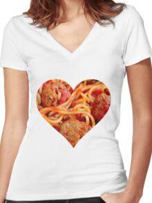 Spaghetti Life Women's Fitted V-Neck T-Shirt