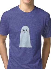 Halloween  Ghost white illustrated Tri-blend T-Shirt