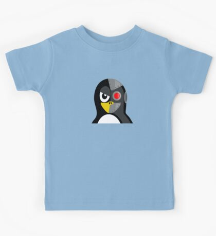 Cyborg Penguin Artwork for Blackhats and Geniuses Kids Tee