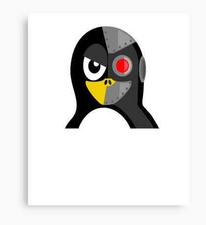 Cyborg Penguin Artwork for Blackhats and Geniuses Canvas Print