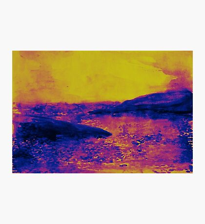 Watercolor of sunset at the sea Photographic Print