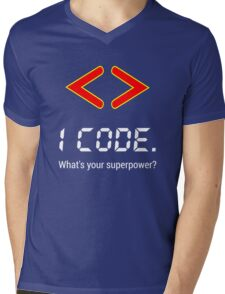 I code. What's your superpower? Funny Computer Programmer Design Mens V-Neck T-Shirt