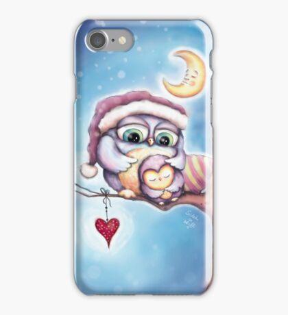 Cute Sleepy Owls in the Snow iPhone Case/Skin