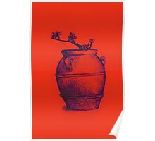 Drawing of a tree branch in a flower pot Poster