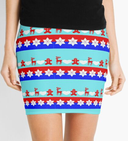Traditional Christmas Ugly Sweater Pattern Cute Bright Colorful Mini Skirt