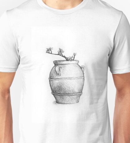 Drawing of a tree branch in a flower pot Unisex T-Shirt