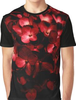 Red Flowers Bouquet in Black Background Photography Graphic T-Shirt