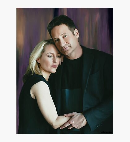 Gillian Anderson and David Duchovny oil color painting  Photographic Print