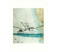 SOUTH BAY Shrimp Fishing Boat Cathy Peek Nautical Chart Map Art Print
