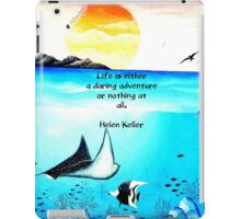 Inspirational Life Challenge Quote With Underwater Scene Painting iPad Case/Skin