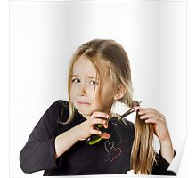 Cute little girl with scissors. Self hairdresser, isolated on white background Poster