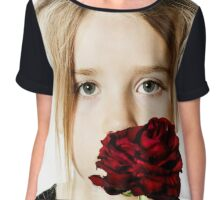 Cute little girl portrait with red rose, isolated on white background Chiffon Top