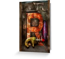 Steampunk - Alphabet - R is for Ray Gun Greeting Card