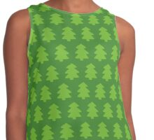 Green Christmas Trees Pattern Contrast Tank