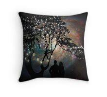 Date Night, trees, stars, string of lights, galaxy, dating couple Throw Pillow