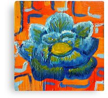 Blue and Orange - Contemporary Oil Painting - Bold Blue Flower Canvas Print
