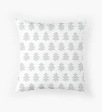 Silver Christmas Trees Pattern Throw Pillow