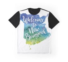 New Brunswick Watercolor Map-Welcome to New Brunswick Hand Lettering - Giclee Print of Original Art Graphic T-Shirt