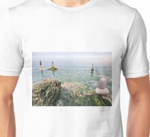 Zen balanced stones on the sea Unisex T-Shirt
