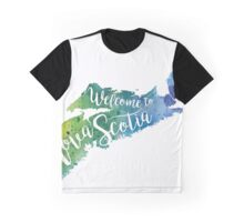 Nova Scotia Watercolor Map - Welcome to Nova Scotia Hand Lettering - Giclee Print of Original Art Graphic T-Shirt