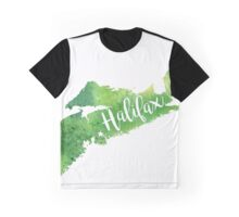 Nova Scotia Watercolor Map - Halifax Hand Lettering  Graphic T-Shirt
