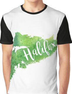Nova Scotia Watercolor Map - Halifax Hand Lettering  Graphic T-Shirt