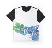Prince Edward Island Watercolor Map - Welcome to Prince Edward Island Hand Lettering - Giclee Print Graphic T-Shirt
