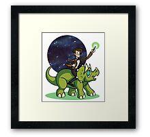 Doctor on a Dinosaur Framed Print