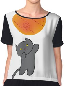 Cat with Planet Chiffon Top