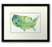United States of America Watercolor Map - Washington,DC Hand Lettering-Giclee Print of Original Art Framed Print