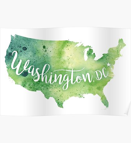 United States of America Watercolor Map - Washington,DC Hand Lettering Poster