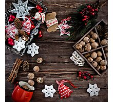 Christmas decoration hanging over the wooden background Photographic Print