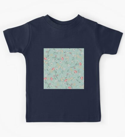 floral,flowers,beautiful,mint,white,green,red,pink,yellow,orange,pattern,modern,trendy Kids Tee