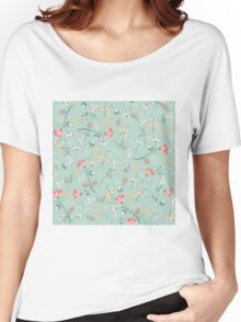 floral,flowers,beautiful,mint,white,green,red,pink,yellow,orange,pattern,modern,trendy Women's Relaxed Fit T-Shirt