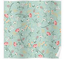 floral,flowers,beautiful,mint,white,green,red,pink,yellow,orange,pattern,modern,trendy Poster