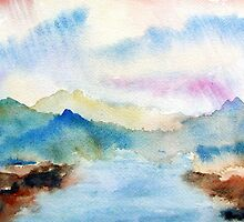 Lake Chuzenji Watercolor Landscape  by BAR-ART
