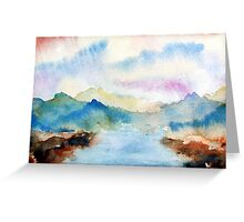 Lake Chuzenji Watercolor Landscape  Greeting Card