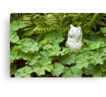 Cat Among The Lady's Mantel And Ferns - Digital Oil Art Work  Canvas Print