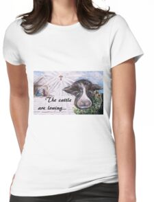 Snow Cow at the Manger Womens Fitted T-Shirt