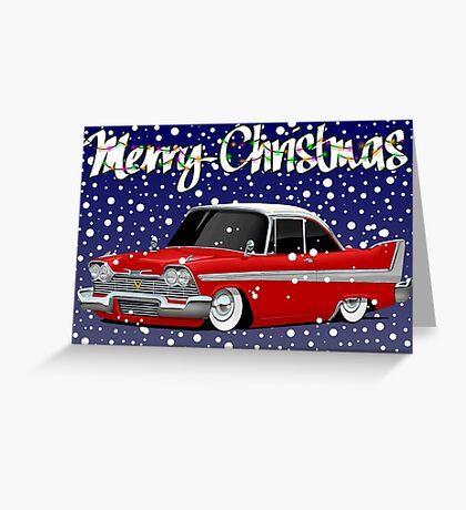 Retro Christmas Card Series Plymouth Fury Greeting Card