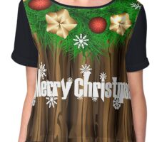 Christmas illustration with wreath on wooden background Chiffon Top