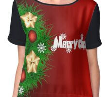 Christmas illustrattion with wreath on red background Chiffon Top